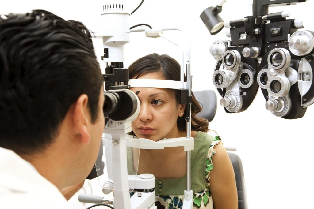 an image of a woman at the optometrist