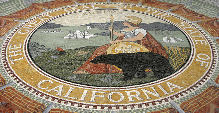 photograph, color, the great seal of the state of california, tiles,