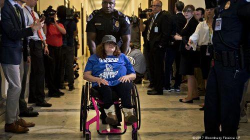 an image of a protester in wheelchair Sacramento Health Centers